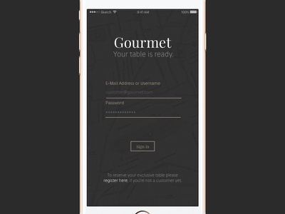 Daily UI #001 - Gourmet App Login elegant minimal iphone screen login app gourmet 001 dailyui