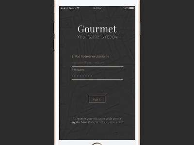 Daily UI #001 - Gourmet App Login elegant minimal iphone screen login app gourmet 001 dailyui
