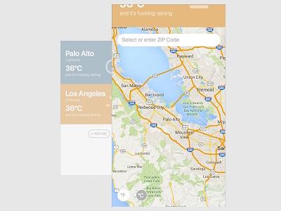 Daily Ui 007 - Location Settings minimal weather app settings 007 dailyui