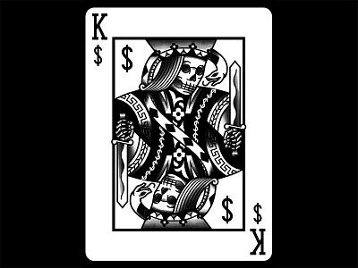 Greed blackwork dark snake tattoo traditional king playing card illustration