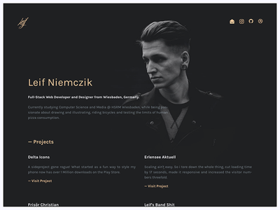 leifs.website personal minimal dark singlepage portfolio website
