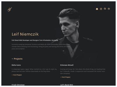 leifs.website personal minimal dark singlepage portfolio website