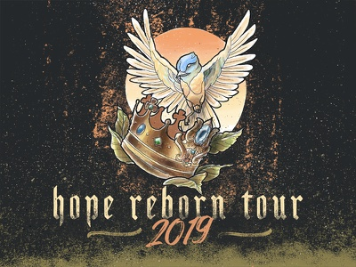 Hope Reborn Tour 2019 textured texture photoshop procreate illustration leaves crown bird