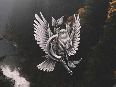 Bird & Scythe forest leaves black and white neotraditional tattoo procreate illustration scythe bird