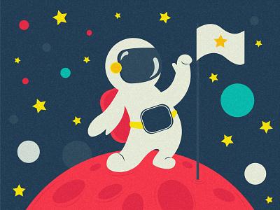Astronaut space earth vector art vector retro night astronaut graphic design graphic flat flat design digital art color cartoon blue art adobe illustration adobe 2d