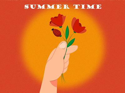 Summer time graphic design arm lettering bouquet art design vector flat design flat illustration summer red orange poppies sunset