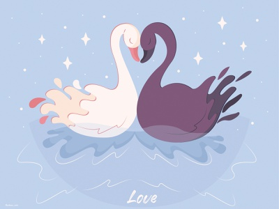 Swan fidelity graphic design illustration design vector flat design flat art peace story water animals blue love swans