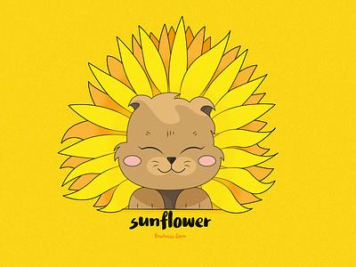 Sunflower art illustration design flat flat design vector graphic design brown animals cute kawaii yellow summer sunflower kitten cat