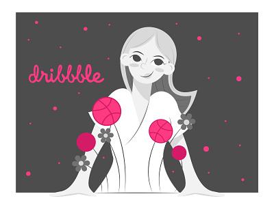 I'm on a dribble art woman illustration design branding illustration flat design character cute flat ui lineart flower flowers woman cartoon vector me girl graphic design