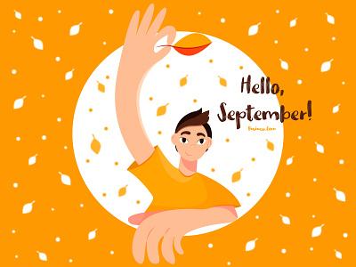 Hello, September! branding character mood boys boy art illustration design vector graphic design flat design orange autumn vibes fall september autumn flat