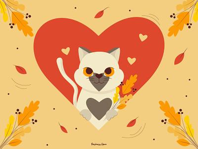 Autumn kitty🍂 branding pretty kitty graphic design flat design illustration design vector fall leaf fall autumn leaves autumn cat cat autumn kitty art flat