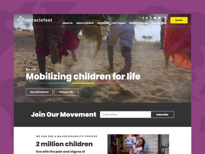 MiracleFeet Site video global non profit nonprofit website web design web homepage