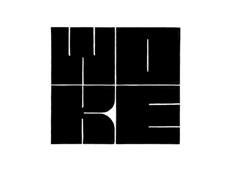 Woke logo type logo design sketch creative woke abstract square custom type hand drawn block letters procreate typography design contemporary mark icon symbol logo graphic design