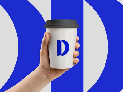 D Concept 1 Cup Mockup simple brand identity abstract clean coffee cup mockup d logo d letter brand and identity visual identity contemporary modern design symbol mark icon identity logo graphic design branding