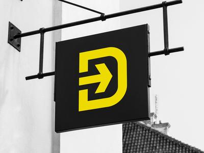 D Concept 2 Signage signage mockup arrow d letter brandmark brand identity typography modern design simple contemporary vector symbol mark icon identity logo graphic design clean branding