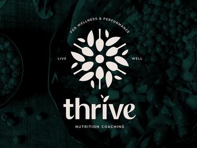 Thrive Nutrition Logo illustration typography contemporary sacred geometry simple brandmark leaf brand identity geometic clean thrive design vector symbol mark icon identity logo graphic design branding