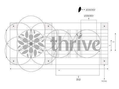 Thrive Nutrition Logo Anatomy nutritional logotype brandmark typography design brand identity golden grid sacred geometry thrive grid construction grid logo anatomy vector symbol mark icon identity logo graphic design branding