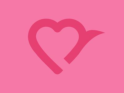 Heart + Bird Logo heart logo heart bird logo bird minimal logo icon flat design branding