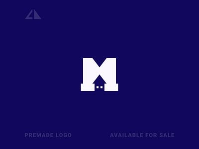 House + M Logo house monogram logo letter logo geometric design geometry flat logo icon design minimal branding