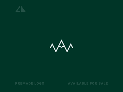 Mountain + W Logo mountain icon geometry flat logo design minimal branding