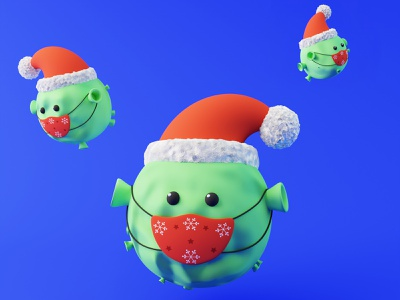 Covid Christmas virus germs characters cute festive mask safe stay character christmas covid blender 3d