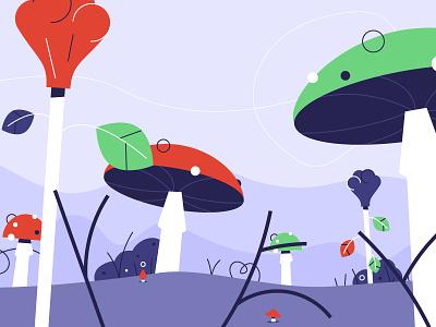 Shrooms layout animation scene wip illustration mushroom