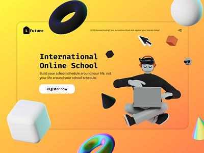 Online school landing page websites landingpage 3d website gcse online school dailyuichallenge dailyui 003 dailyui learning platform online class