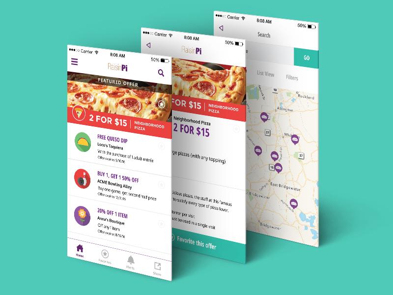 RaisinPi ui pizza fundraising app mobile