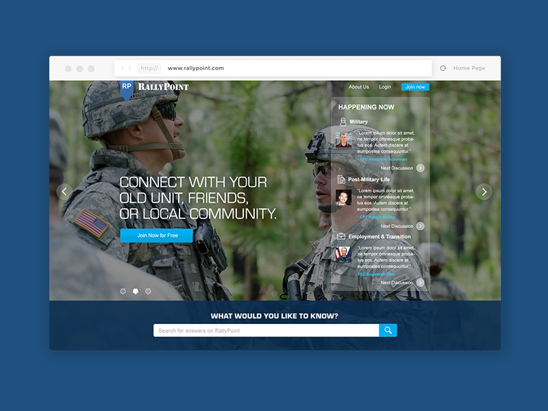 RallyPoint Home Page network social military desktop homepage