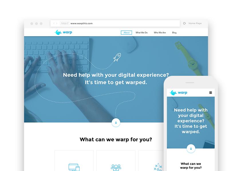 Warp Website mobile ui web
