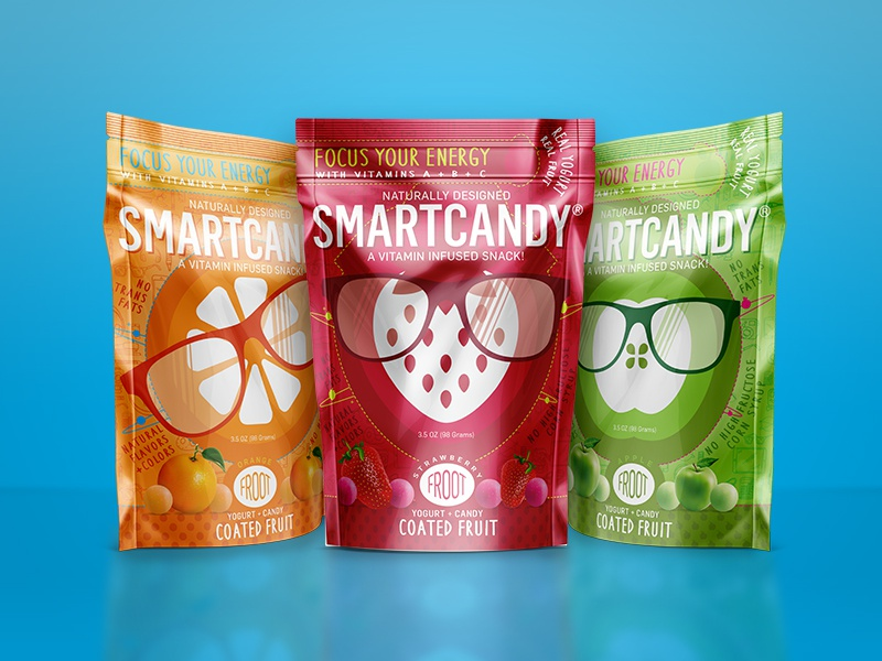 Smartcandy 3.5oz Packs fruit icon packaging candy smart