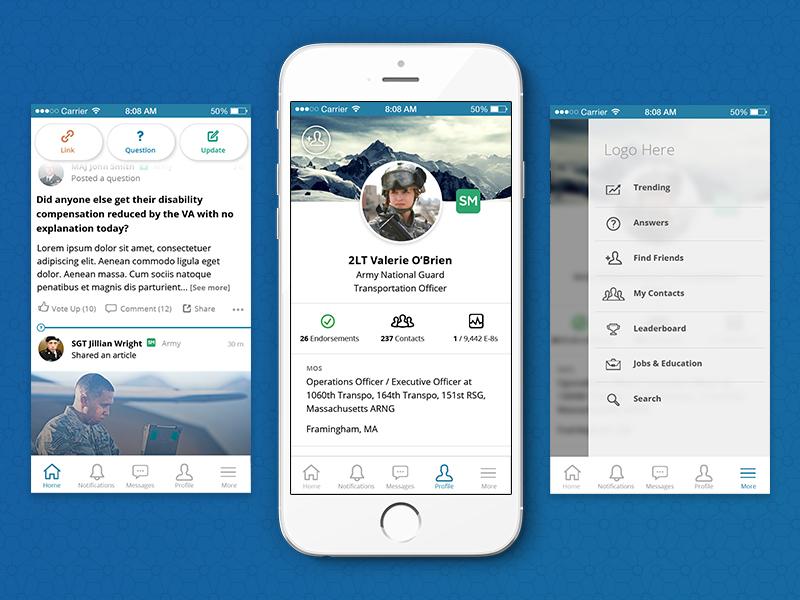 Mobile Redesign military social app mobile