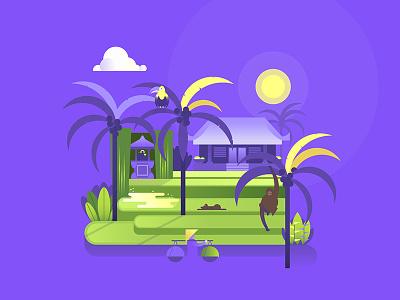 Rice Fields rice field dog bird monkey palm coconut tropical landscape