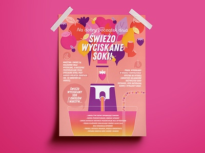 Freshly Squeezed healthy vegetables pink fruits squeeze juice fresh poster