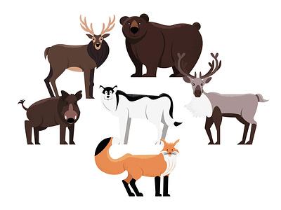 Animals   part 2 deer boar fox wolf reindeer bear illustration animal