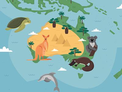 Animal World Map ocean vector nature illustration wallpaper antarctica arctic asia america europe africa continents map animals animal