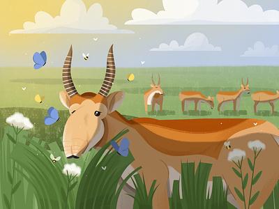 Saiga antelope meadow antelope saiga nature butterfly animal illustration