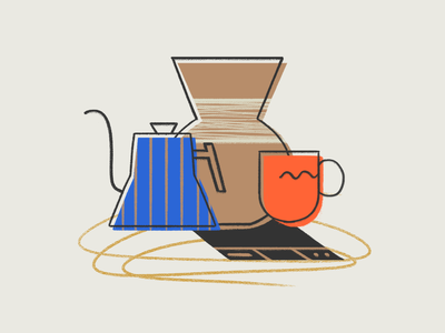 Coffee Supplies illustration scale mug kettle pour over supplies coffee