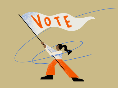 Vote! illustration flag woman character vote