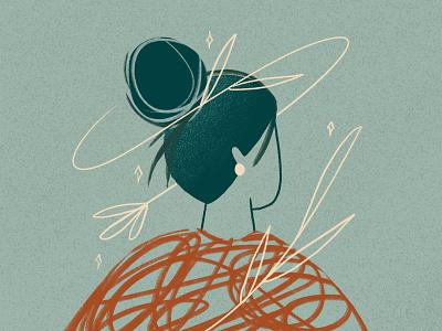 Wisp illustration wisp bun character inktober