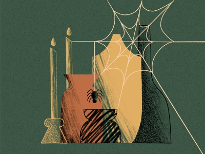 Vases web candles spider pots jar vase inktober