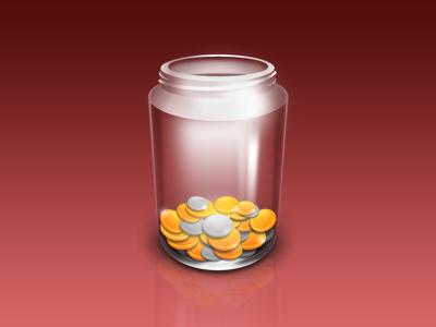 Coins Jar glass coin jar icon gold mac