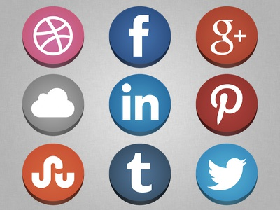 Flat (…but not flat) Social Icons @2x social icons flat flat design freebie