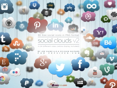 Preview Social Clouds social clouds social icons icons @2x