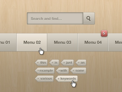 Soft Beige Search form, Menus and Tags