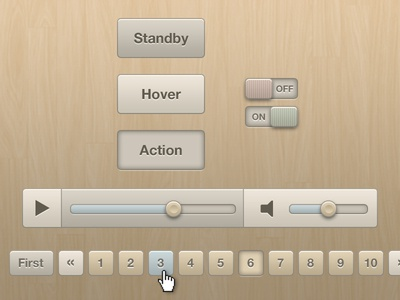 Soft Beige Buttons, Switches, Audio Player and Pagination