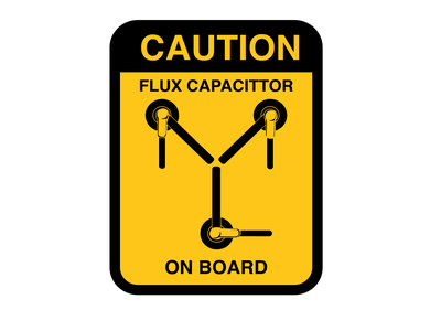 Caution Flux Capacitor On Board fluxcapator backtothefuture flat art illustration graphic design