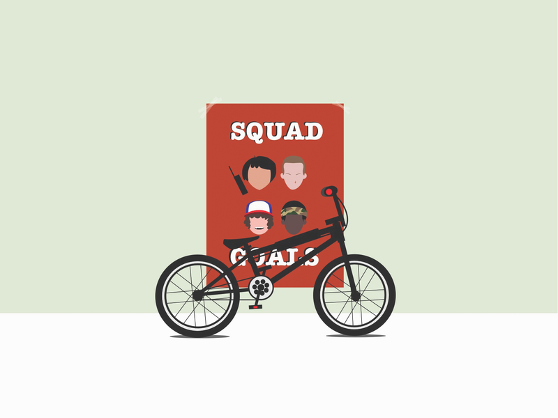 Stranger Things poster print bycicle bike psychokinesis upside down drama supernatural series serial movie horror science fiction duffer brothers netflix squad 80s bmx illustration