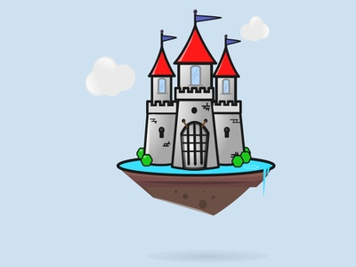 Flying Castle fortress paladin icon middle ages castle illustration