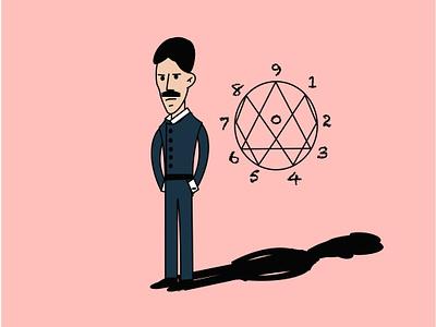 Nikola Tesla univers tesla croatia genius numbers science illustration